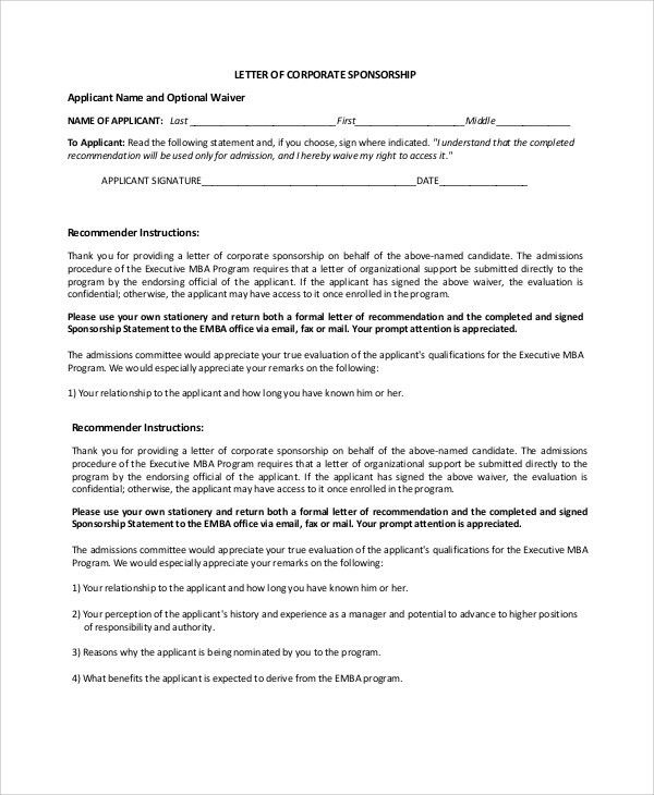 Sample Corporate Sponsorship Letter - 5+ Documents in PDF, Word