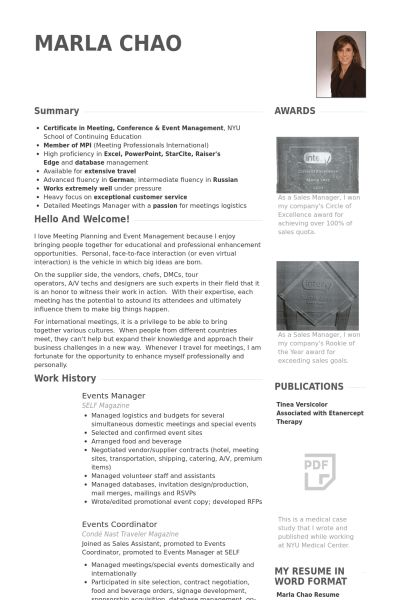 Events Manager Resume samples - VisualCV resume samples database