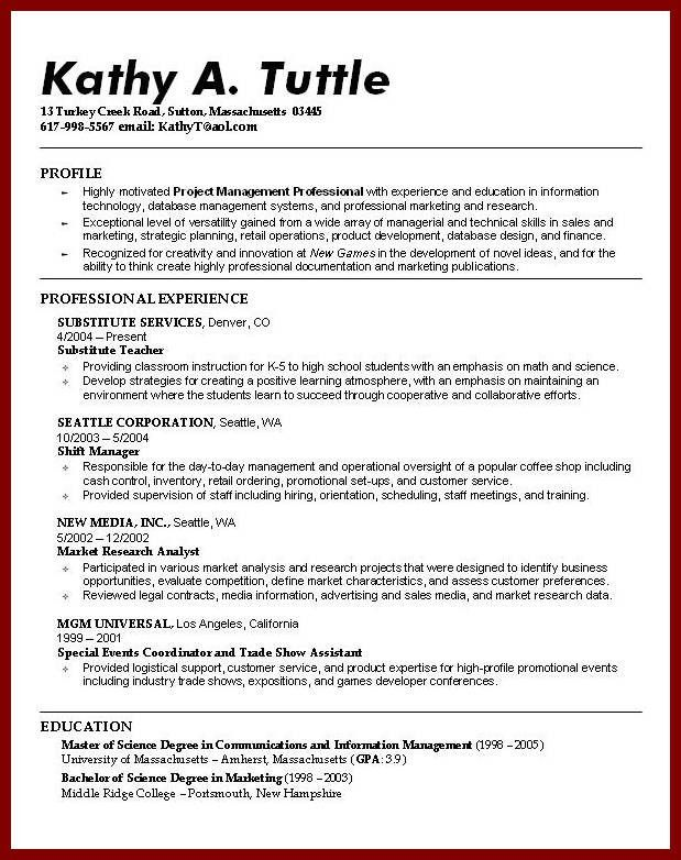 Sample cv business student