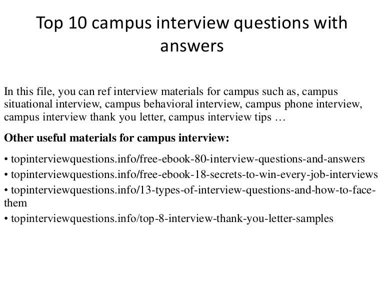 Top 10 campus interview questions with answers