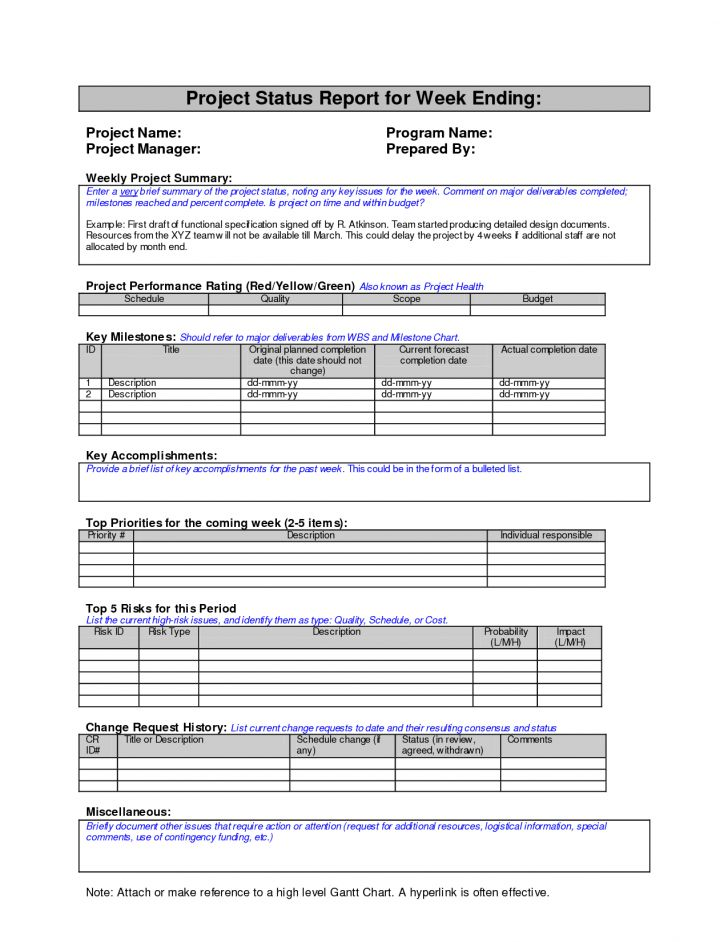 one page project status report template | Best and Various Templates
