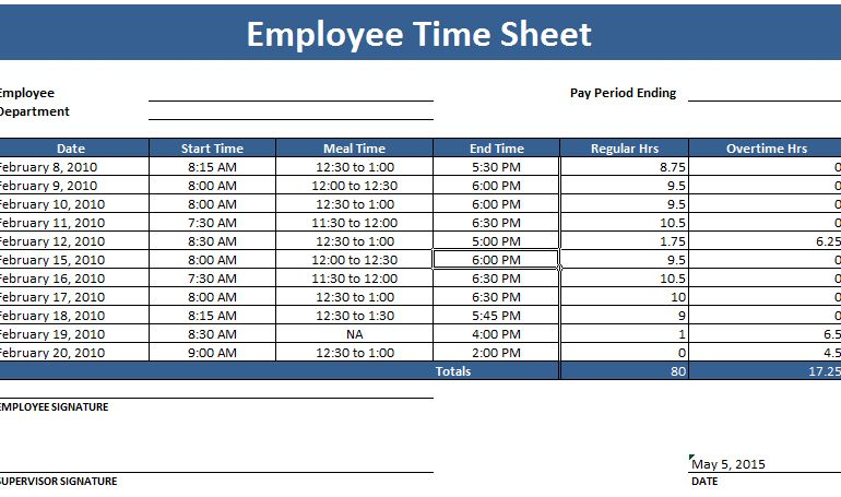 Free Timesheet Templates at Document Templates