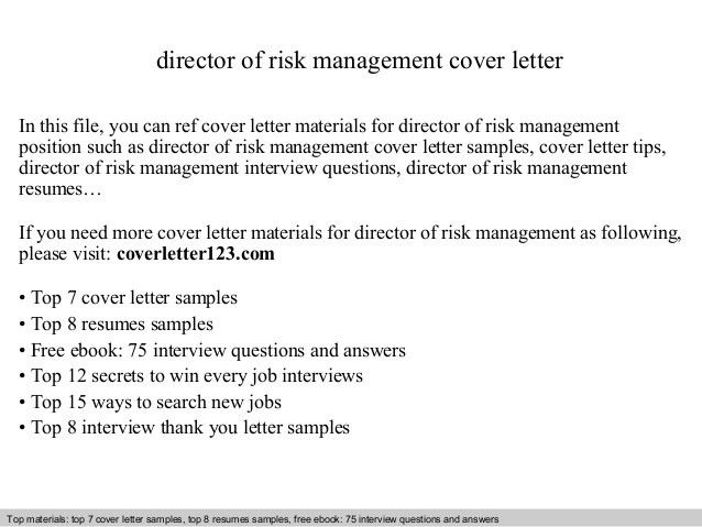 Director of risk management cover letter