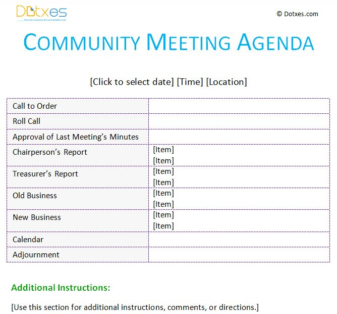 Meeting agenda template (Community) - Dotxes