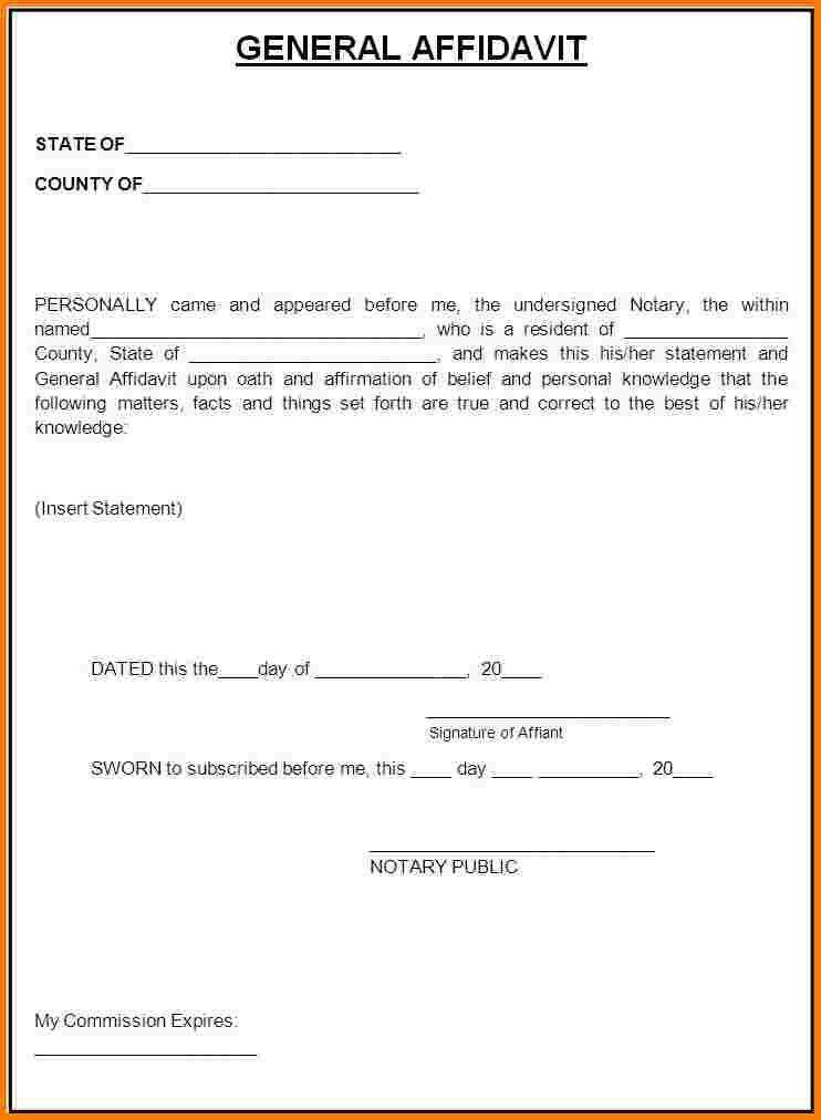 5 free affidavit form download | Receipt Templates