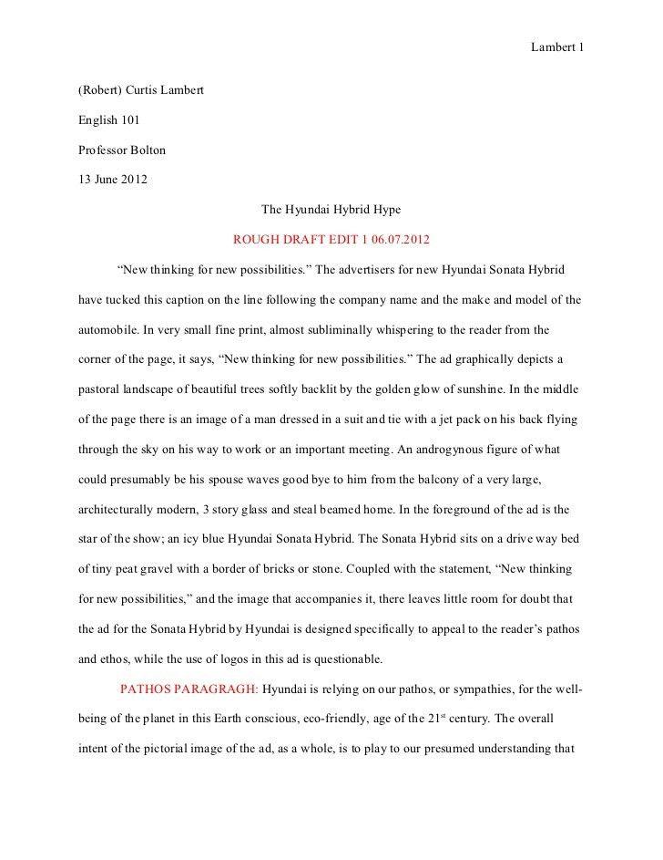 Essay 1: Ad Analysis Rough Draft, The Hyundai Hubrid Hype