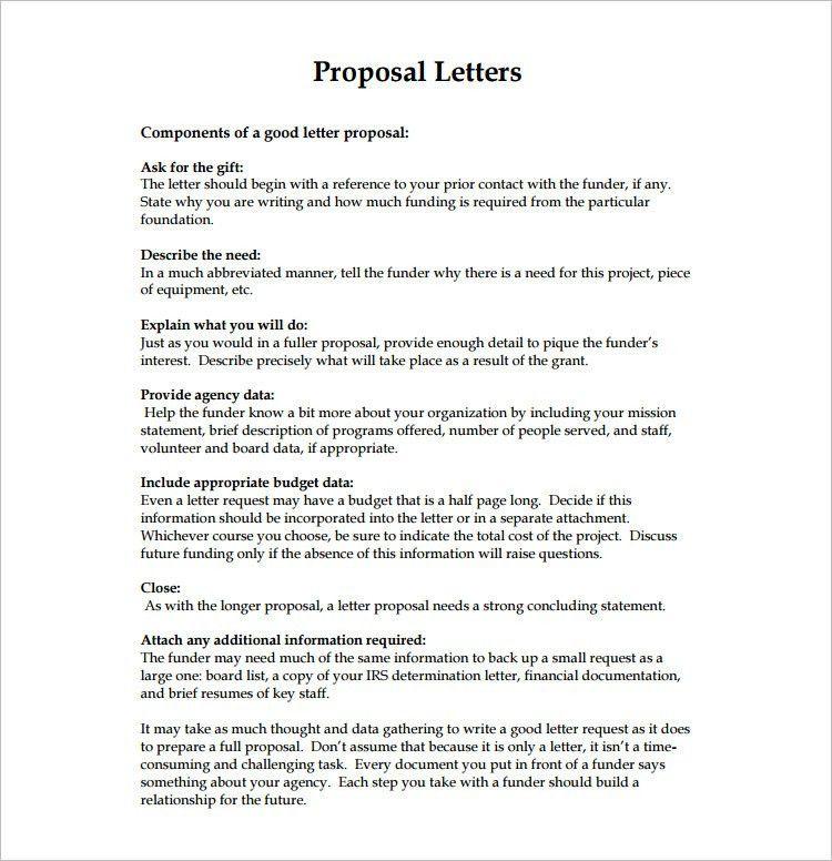 Proposal Letter Templates - Free Word, Excel Format | Creative ...