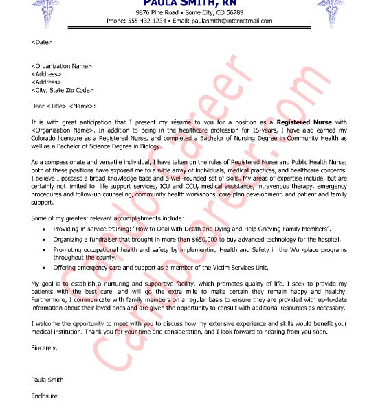 Intricate Cover Letter Examples For Nurses 14 Nurse Sample - CV ...