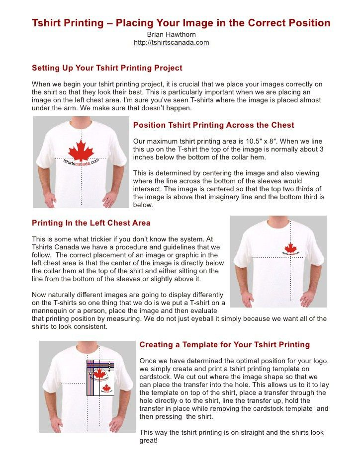Tshirt Printing - Placing Your Image in the Correct Position