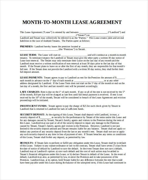 Free Lease Agreement - Free PDF, Word Documents Download | Free ...