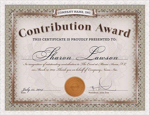 Sample Award Certificate Template – 9+ Samples, Examples, Format