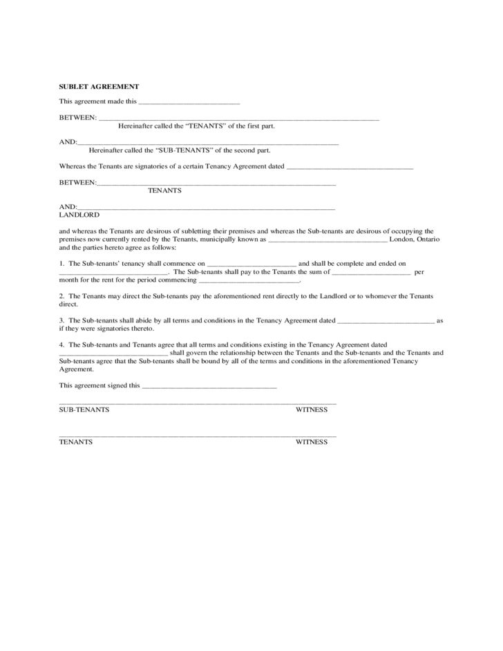 Sublease Agreement Form - California Free Download