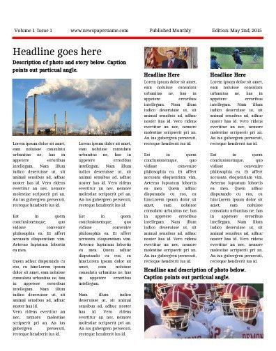 Free Newsletter Templates - Print and Digital | Makemynewspaper.com