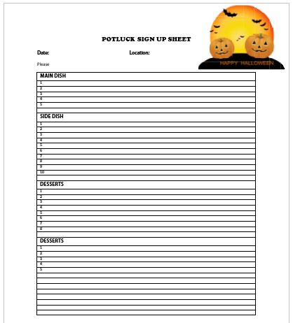 10+ Halloween Potluck Signup Sheets : Printable Word Templates ...