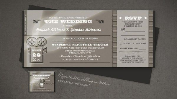 Awe-inspiring Movie Ticket Wedding Invitations   THERUNTIME.COM