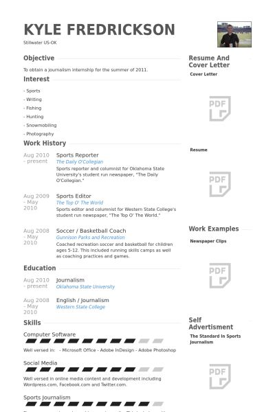 Sports Reporter Resume samples - VisualCV resume samples database