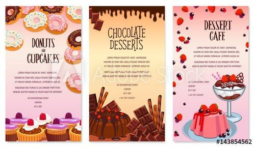 Vector desserts menu template for bakery or cafe - image | Adobe Stock