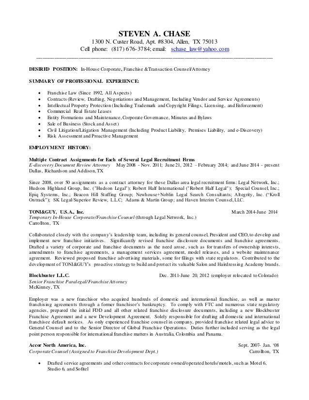 July 6, 2015 LinkedIn Franchise Transaction Attorney Resume Word 2010