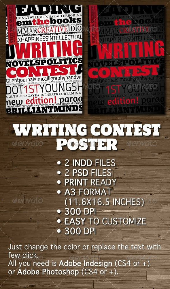 Writing Contest Poster / Flyer | Flyer template, Flyer design ...
