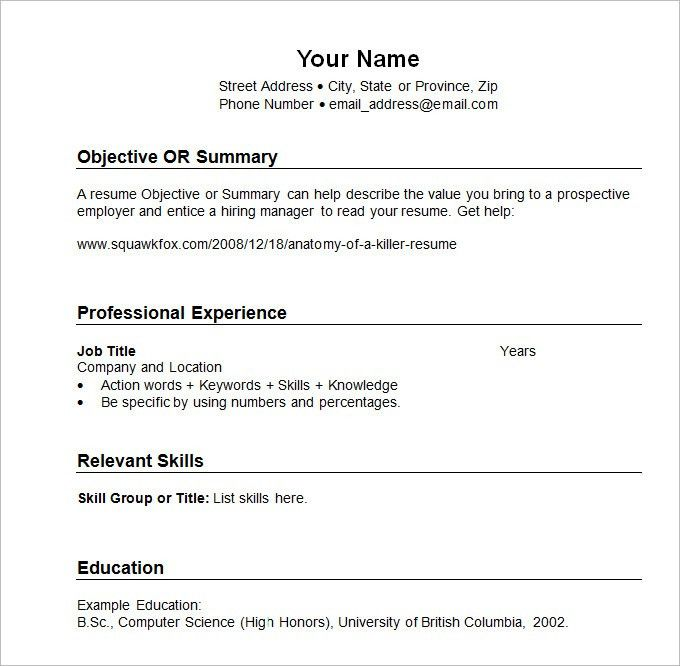 Download Sample Resume Template | haadyaooverbayresort.com