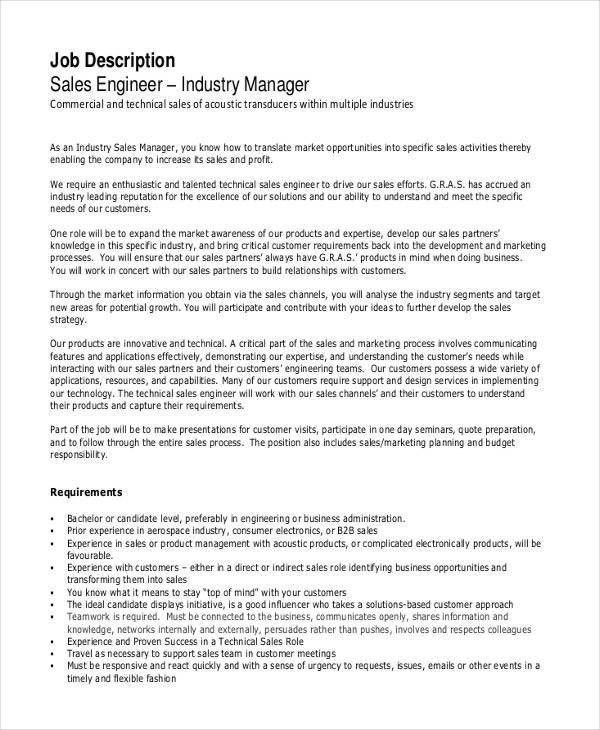 Sales Engineer Job Description - 7+ Free Word, PDF Documents ...