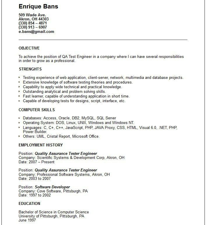 Qa Test Engineer Sample Resume | haadyaooverbayresort.com