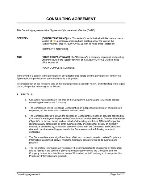 Consulting Agreement Long - Template & Sample Form | Biztree.com