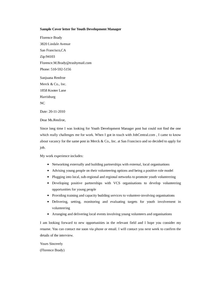 Basic Youth Development Manager Cover Letter Samples and Templates