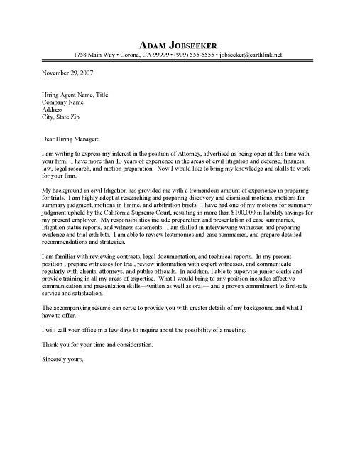 Cover Letter Litigation Attorney Resume Cover Letter Sample ...