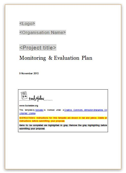 Monitoring and evaluation (M&E) plan template | tools4dev