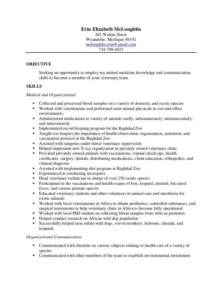 Download Veterinarian Resume Sample | haadyaooverbayresort.com