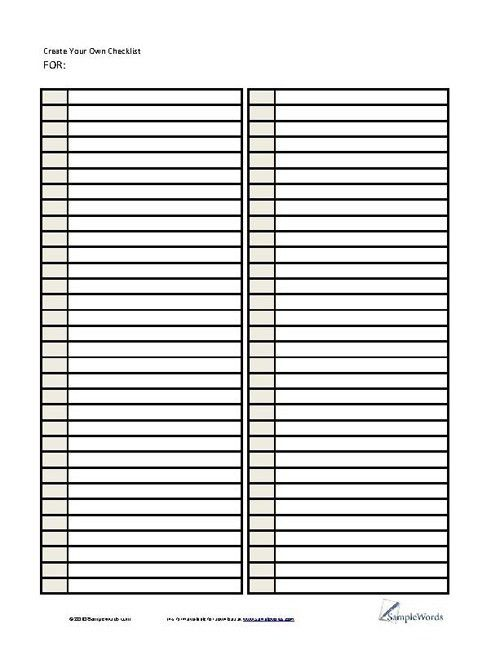 Lists - Printable Forms, Templates & Samples | Convertisseur