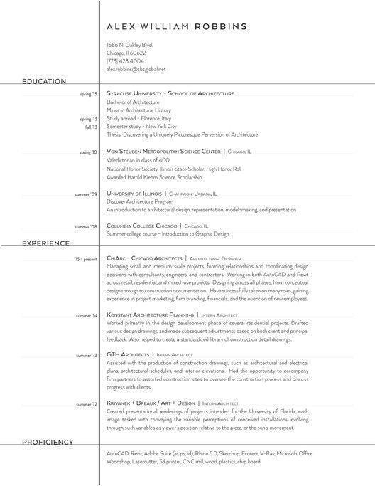 The Top Architecture Résumé/CV Designs | ArchDaily