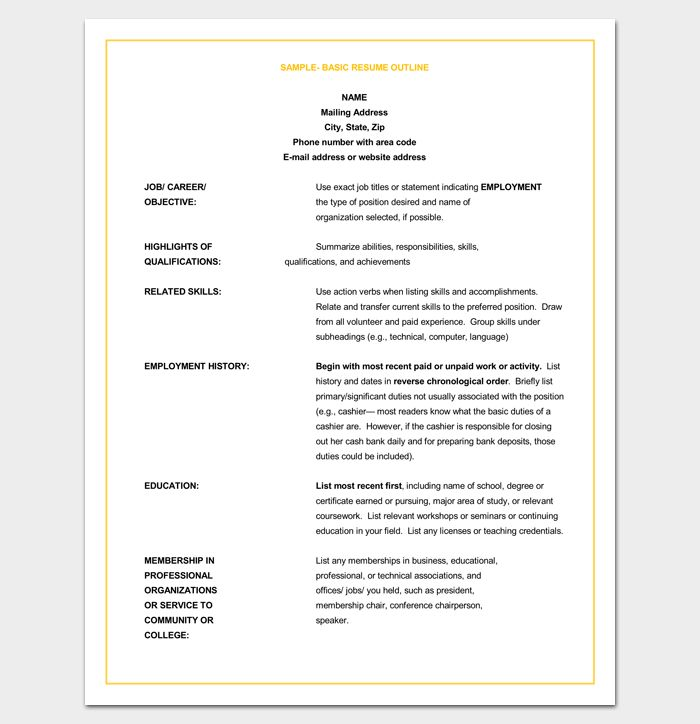 Resume Outline Template - 19+ For Word and PDF Format