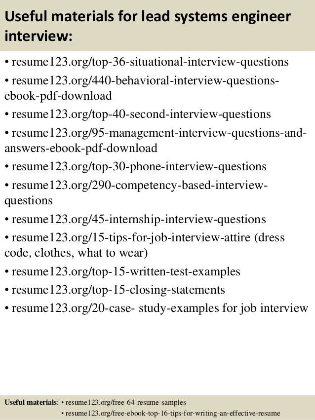 Top 8 lead systems engineer resume samples