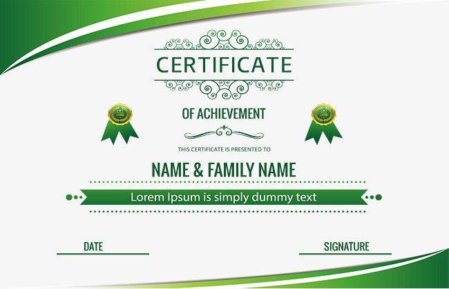 Green Certificate Template, Vector Png, Graduation Certificate ...
