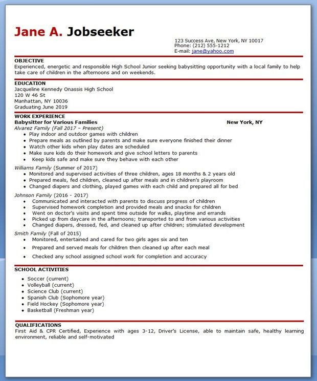 nanny resume examples are made for those who professional with ...
