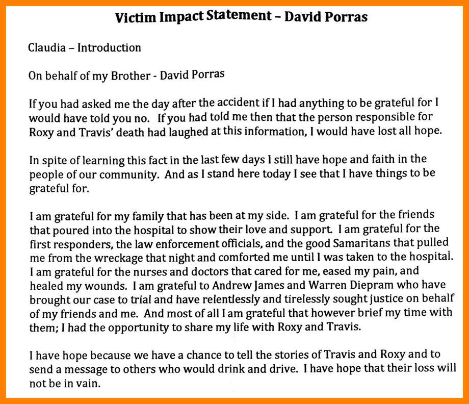 9+ victim impact statement example | Statement Information