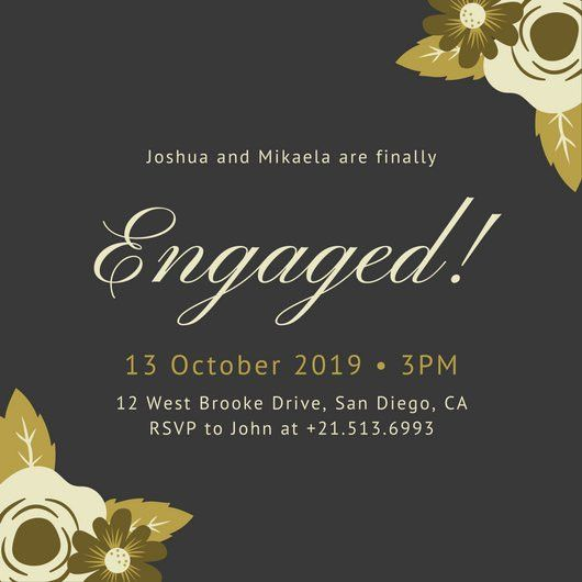 Black with Gold Flowers Fancy Engagement Invitation - Templates by ...