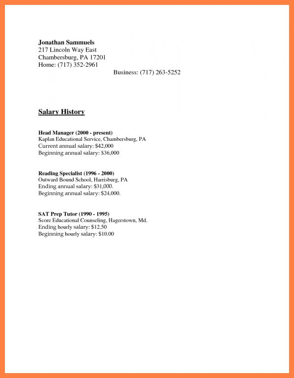 Cover letter for receptionist with salary requirements