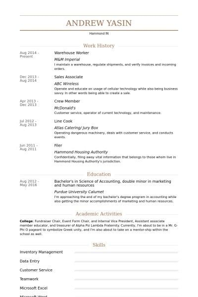 Resume Templates For Warehouse Worker | Template Design