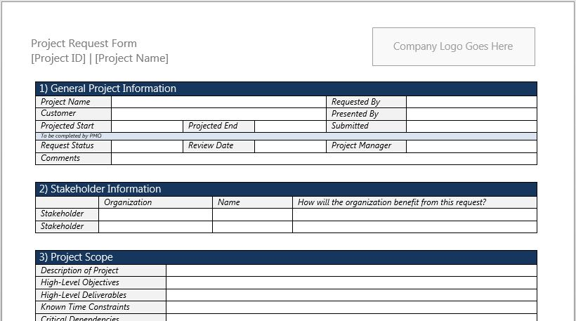 Project Request Form Template for Microsoft Word 2013 | Robert ...