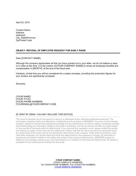 Refusal of Employee Request for Early Raise - Template & Sample ...