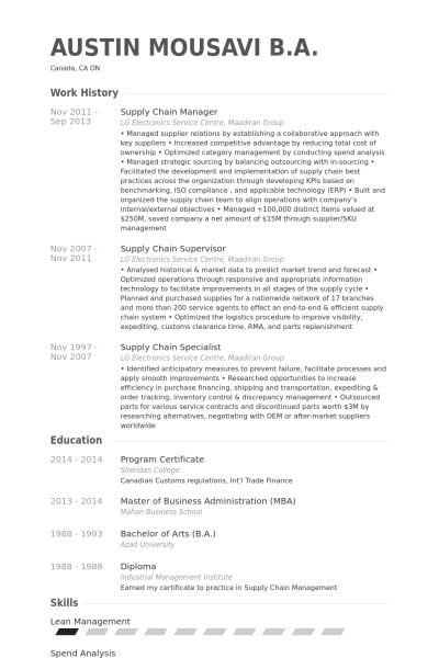 Supply Chain Manager Resume samples - VisualCV resume samples database