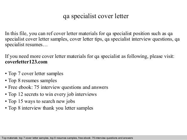 Qa specialist cover letter