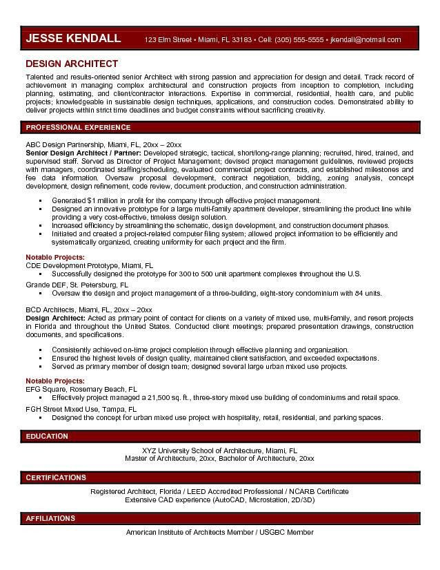 Free Design Architect Resume Example
