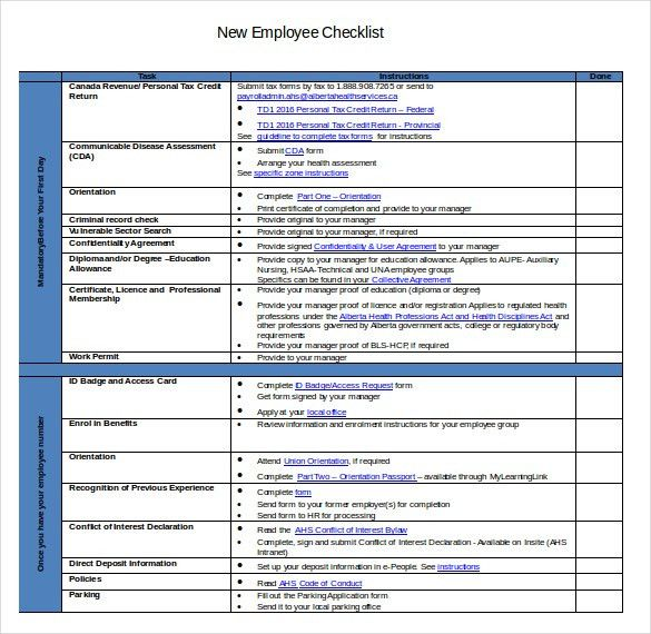 New Hire Checklist Template – 12+ Free Word, Excel, PDF Documents ...