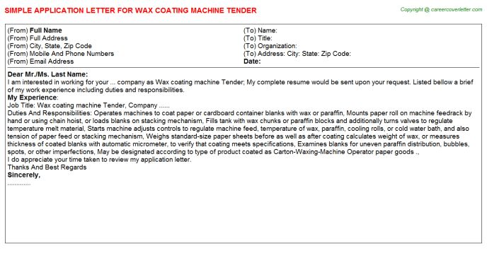 Wax Coating Machine Tender Application Letter