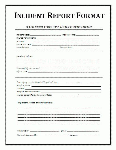 7+ Incident Report Form Template Word | Printable Receipt