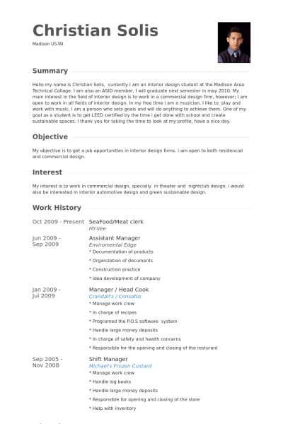 Meat Clerk Resume samples - VisualCV resume samples database